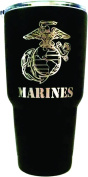 U.S. Marine Corps Engraved on Black Polar Camel 890ml Stainless Steel Vacuum Insulated Tumbler w/Clear Lid - BOTH SIDES