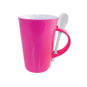 Mug Set with Spoons - Ceramic with Neon Gloss Finish Coffee and Tea Cup with Matching Spoon in Handle 410ml