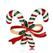 Profusion Circle Christmas Santa Claus Crutch Bowknot Brooch Pin Dress Scarf Accessory Womens Xmas Gift
