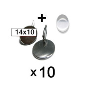 10 x Silver and 10 14x10 mm Cabochon Earrings