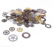 BIHRTC 150 Gramme DIY Assorted Colour Antique Metal Steampunk Gears Charms Pendant Clock Watch Wheel Gear for Crafting, Jewellery Making Accessory, Cosplay Halloween Decoration