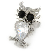 Clear/ Black Crystal Owl Ring In Rhodium Plated Metal - 40mm - Size 7