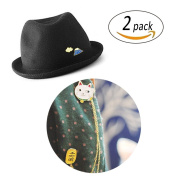 REKYO 2pcs Lovely Lucky Cat and Volcano Brooch Clothes, hats, bags, wallet ornaments pin for girls