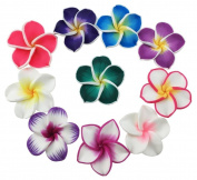 50 Pcs 35mm Mixed Colour Polymer Clay Flower Beads Floral Bead Hawaiian Lei Plumeria Beads Chunky Beads Handmade Jewerly Bead DIY Accessories Hawaiian Accessories for Jewellery Making