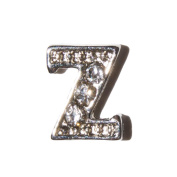 Letter Z with clear stones - 7mm silvertone floating charm fits living memory lockets and keyrings