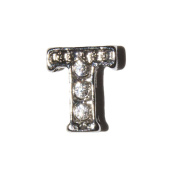 Letter T with clear stones - 7mm silvertone floating charm fits living memory lockets and keyrings