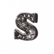 Letter S with clear stones - 7mm silvertone floating charm fits living memory lockets and keyrings