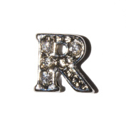 Letter R with clear stones - 7mm silvertone floating charm fits living memory lockets and keyrings