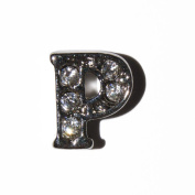 Letter P with clear stones - 7mm silvertone floating charm fits living memory lockets and keyrings