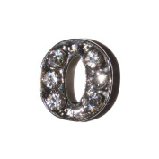 Letter O with clear stones - 7mm silvertone floating charm fits living memory lockets and keyrings