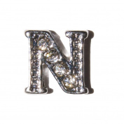 Letter N with clear stones - 7mm silvertone floating charm fits living memory lockets and keyrings
