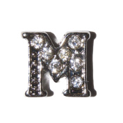 Letter M with clear stones - 7mm silvertone floating charm fits living memory lockets and keyrings