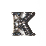 Letter K with clear stones - 7mm silvertone floating charm fits living memory lockets and keyrings