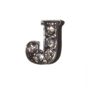 Letter J with clear stones - 7mm silvertone floating charm fits living memory lockets and keyrings