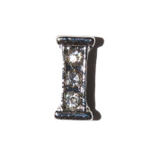 Letter I with clear stones - 7mm silvertone floating charm fits living memory lockets and keyrings