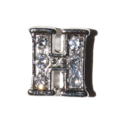 Letter H with clear stones - 7mm silvertone floating charm fits living memory lockets and keyrings