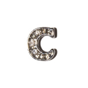 Letter C with clear stones - 7mm silvertone floating charm fits living memory lockets and keyrings
