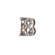 Letter B with clear stones - 7mm silvertone floating charm fits living memory lockets and keyrings