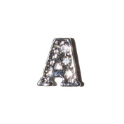 Letter A with clear stones - 7mm silvertone floating charm fits living memory lockets and keyrings