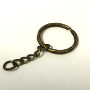 10 x bronze plated metal keychains with split ring