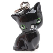 Beadaholique Hand Painted 3D Seated Black Cat with Green Eyes Jewellery Charm, 20mm