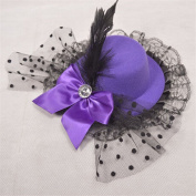 Interesting® Lovely Women Lady Girl Bow Hair Clip Lace Feather Mini Top Hat Cap Fascinator