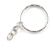 Cooplay 50x Stamp Round 24mm Split Key Ring Keychain W/attached Extend Chain With Ring Link For Handbag Purse Car House Keys Finding Make DIY