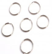"Cooplay 50 Pc Bronze Silver Tone Thin Round Key Ring 24mm 1"" Split Ring Keychain For Handbag Purse Car House Keys Finding Make DIY"