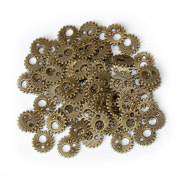 SSEELL 50X Bronze Gear Wheel Charms Bead Watch Parts Steampunk DIY Jewellery Making Craft