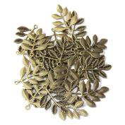 SSEELL 30 Antique Vintage Metal Leaf Leaves Bronze DIY Jewellery Making Beads Bead Charms