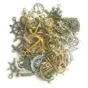 SSEELL 100g Mixed Silver Bronze Gold Anchor Rudder Charm Pendants Jewellery DIY Making