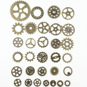 SSEELL 20 Piece Vintage Bronze Watch Parts Steampunk Cyberpunk Punk Cogs Gears DIY Jewellery Craft
