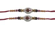 PMK Set of Two Rakhi, Oval Shape White Ring Rudrakhsa Rakhi thread, Raksha bandhan Gift for your Brother, Red Colour Thread.Colour Vary and Multi Design