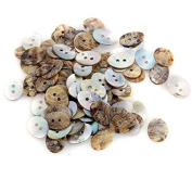 Skyllc® 100 X Oval Mother of Pearl Shell Craft Buttons 18x13mm CHIC