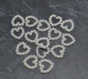 50pcs Heart Shaped Ivory Colour Faux Pearls Acrylic Cabochon Embellishments Wedding Card Making - 11mm