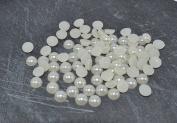 150pcs Ivory Colour Faux Half Pearls Acrylic Cabochon Flat 6mm