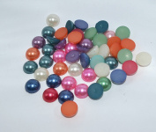 50pcs Mix Colour Round Faux Half Pearls Acrylic Cabochon Flat 10mm