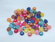 100pcs Mix Colour Round Faux Half Pearls Acrylic Cabochon Flat 8mm