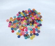 150pcs Mix Colour Round Faux Half Pearls Acrylic Cabochon Flat 6mm