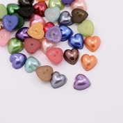 50pcs Mix Colour Heart Faux Half Pearls Acrylic Cabochon Flat 10mm