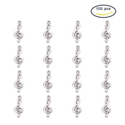 Pandahall 20 Pcs Tibetan Style Treble Clef Pendants, Lead Free, Antique Silver Musical Note Charms, 26x10x2mm, Hole