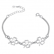 fablcrew Double Chain Bracelet with Clover Pendant Silver Chain