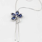 Zhichengbosi Crystal Artificial Diamond Five Leaf Flower Dress Sweater Necklace