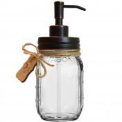 Premium Rust Resistant 304 18/8 Stainless Steel Mason Jar Soap Pump / Lotion Dispenser Kit by Premium Home Quality - Includes 470ml (Regular Mouth) Glass Mason Jar
