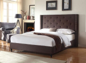 Home Life Premiere Classics Cloth Brown Linen 130cm Tall Headboard Platform Bed with Slats Full - Complete Bed 5 Year Warranty Included 007