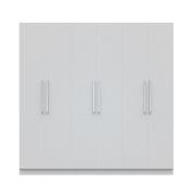 Manhattan Comfort Eldridge 2.0 3 Sectional Armoire Wardrobe Closet with 6 Doors, 4 Drawers, 9 Shelves and 3 Hanging Rods, 230cm L x 50cm D x 230cm H, White