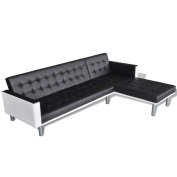 Festnight Artificial Leather L-shaped Sofa Bed for Living Room, Black/White
