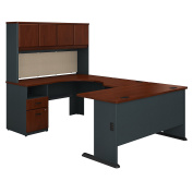 Bush Business Furniture Series A 60W U Shaped Desk with Hutch and 2 Drawer Pedestal in Hansen Cherry and Galaxy