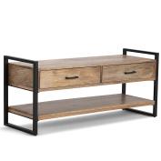 Simpli Home Riverside Solid Mango Wood & Metal Entryway Bench, Natural
