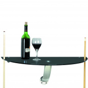 RAM Gameroom Products Wall Pub Table in Black Tempered Glass with Stainless Accents, 30 x 38cm x 25cm